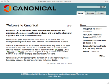 Canonical Ltd website screenshot