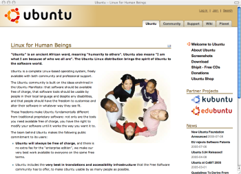 Ubuntu Linux website screenshot